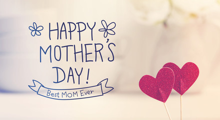 Mothers Day message with small red hearts