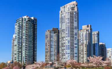 Modern apartment buildings in downtown Vancouver, BC, Canada