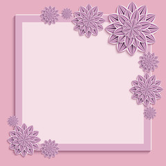 Festive frame with purple 3d paper flowers