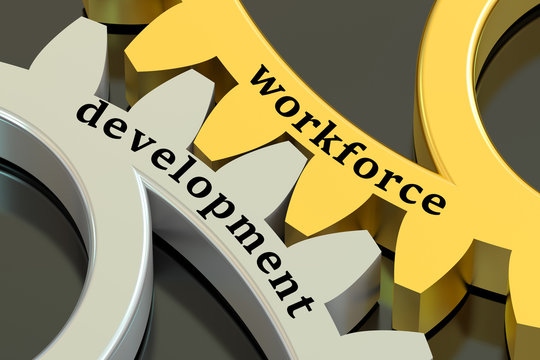 Workforce Development concept on the gearwheels