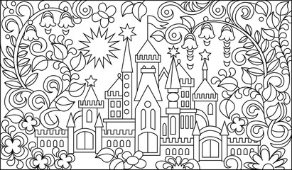 Black and white illustration of fairyland castle for coloring. Developing children skills for drawing. Vector image.