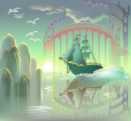Fantasy ship in fairyland, vector cartoon image.