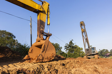 Excavator Bin Rigging Crane construction industrial machines on site