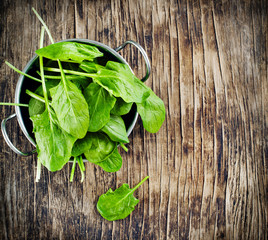 Fresh spinach in bowl on wooden background