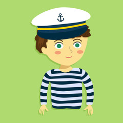Cartoon Vector Illustration of a Boy with Sailor Shirt and Marine Captain Cap in Green Background