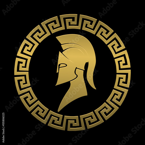 quotgolden symbol spartan warrior on a black background