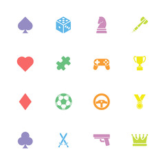 colorful simple flat game icon set for web design, user interface (UI), infographic and mobile application (apps)
