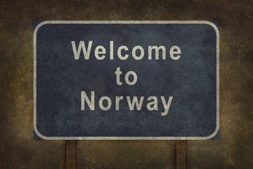Welcome to Norway roadside sign illustration