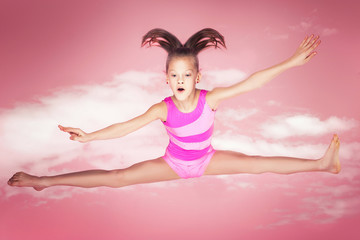 Happy gymnastic girl.