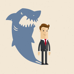 Businessman, boss or manager. A shark business. The shadow of a man in the form of a huge shark.  Illustration, vector EPS10.