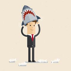 Businessman or manager. A man dressed  costume of shark. Illustration, vector EPS10.