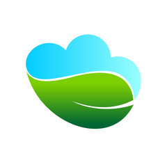 Simple Leaf Bright Green Meadow Cloud Nature Symbol