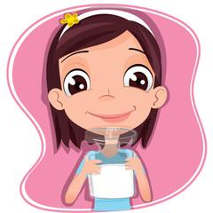 girl drink milk.
