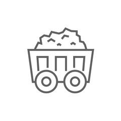 Mining coal cart line icon.