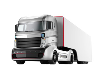 Autonomous hybrid truck isolated on white background. 3D rendering image with clipping path. Original design.