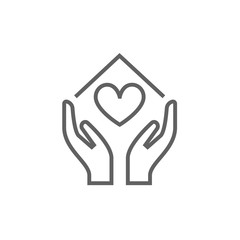 Hands holding house symbol with heart shape line icon.