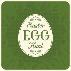 Easter egg hunt typographical with green grass background, flat design