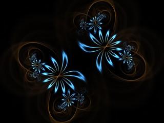Creative blue flower swirls abstract fractal background