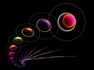 Creative line of planets abstract fractal