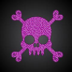 Vector pink sequin skull. Jolly Roger.  Eps 10.