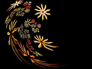 Curved floral abstract fractal background