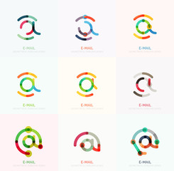 Vector email business symbols or at signs logo set. Linear minimalistic flat icon design collection