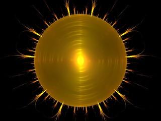 Blazing yellow sun abstract fractal