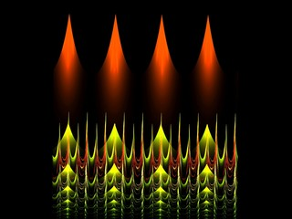 Creative geometrical burning candles patterned abstract fractal background