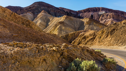 road offers majestic views. It contains colorful rock formation. Artist's Drive, Death Valley National Park