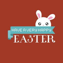 Have a very happy easter typographic design with ribbon and bunny, flat design