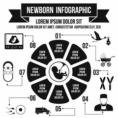 Newborn infographic elements, simple style
