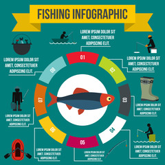 Fishing infographic elements, flat style