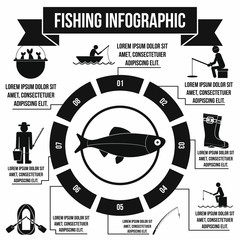 Fishing infographic elements, simple style