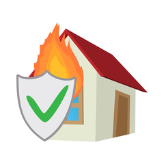 Property insurance icon, cartoon style