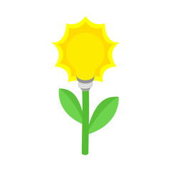 Plant with lamp bulb icon, isometric 3d style