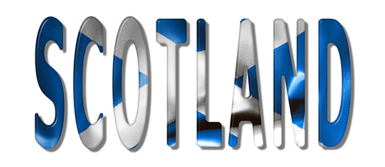 Scotland Word With Flag Texture