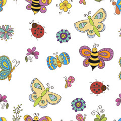 Seamless pattern with doodle butterflies an bees