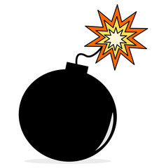 cartoon bomb isolated on white background vector illustration