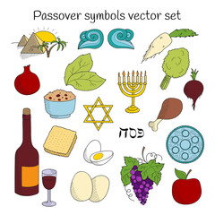 Collection of doodle symbols of Jewish holiday Passover