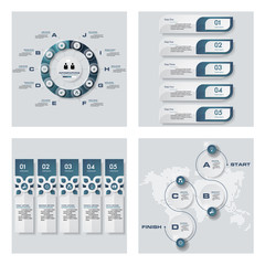 Collection of 4 blue color template/graphic or website layout. Vector Background. For your idea and presentation.