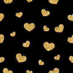 Golden hearts seamless pattern. Gold glitter and black template. Abstract geometric texture. Retro. Valentine day Design template for card, wallpaper, wrapping, textile, fabric etc Vector Illustration