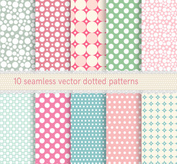 polka dot vector seamless pattern. vintage dotted shabby chick backgrounds collection.