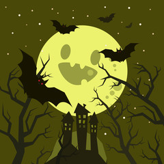Poster Forest animals Halloween vector illustration.