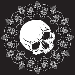 Bandana black and white design pattern with skull. Vector illustration