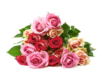 Pile of rose flowers isolated