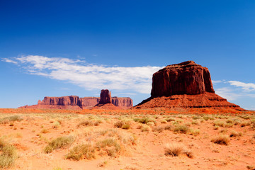 Iconic peaks of rock formations in the Monument Valley