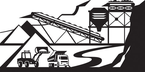 Open quarry for extraction of stone, gravel and sand - vector illustration