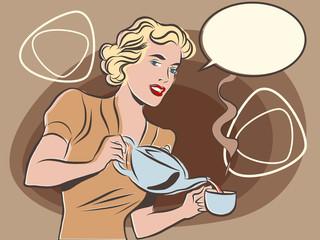 The waitress pours tea pastel retro colors