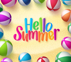 Beach ball Background with Hello Summer Text in the Sand for Summer Season. Vector Illustration
