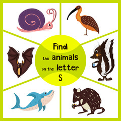 Funny learning maze game, find all 3 cute wild animals with the letter S, forest skunk, shark predatory sea slug and the snail. Educational page for children. Vector